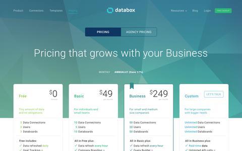 Screenshot of Pricing Page databox.com - Pricing   Databox - captured Nov. 7, 2017