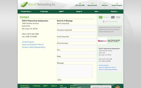 Screenshot of Contact Page ecoitnetworking.com - Contact | ECO-IT Networking - captured Oct. 1, 2014