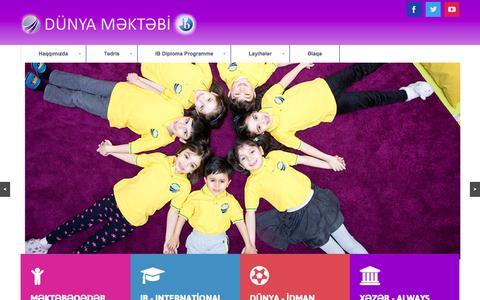 Screenshot of Home Page dunyaschool.az - Dunya School - captured Sept. 6, 2015