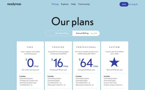 Screenshot of Pricing Page readymag.com - Readymag • Pricing - captured May 13, 2018