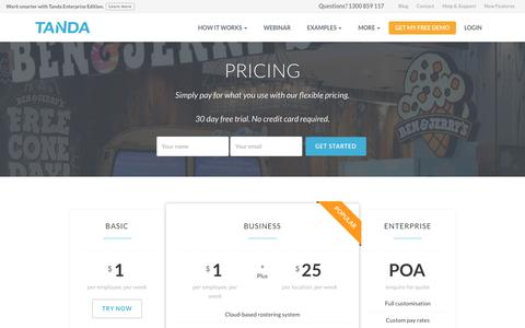 Screenshot of Pricing Page tanda.co - Pricing | Tanda - captured Aug. 19, 2016