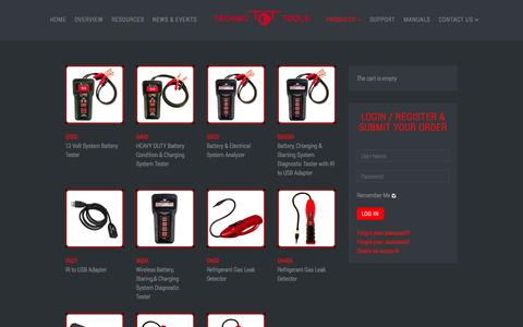 Screenshot of Products Page techno-tools.com - Techno Tools Corporation - PRODUCTS - captured Oct. 9, 2014