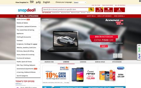 Screenshot of Home Page snapdeal.com - Online Shopping India: Buy Mobiles, Laptops, Apparels, Shoes & more at Snapdeal.com - captured Sept. 16, 2014