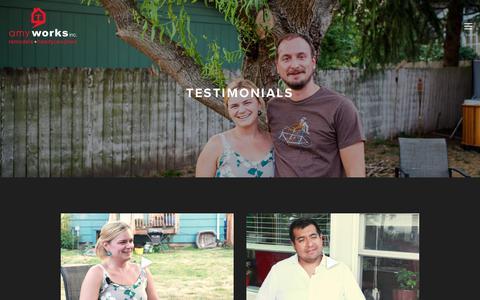 Screenshot of Testimonials Page amyworks.com - Testimonials — Amy Works - captured July 30, 2018