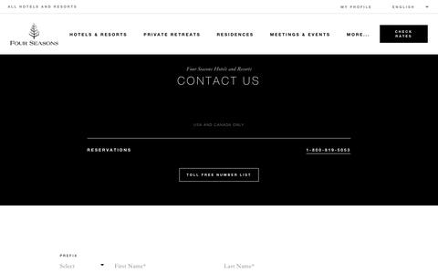 Screenshot of Contact Page fourseasons.com - Contact Us | Four Seasons Luxury Hotels & Resorts - captured May 18, 2019