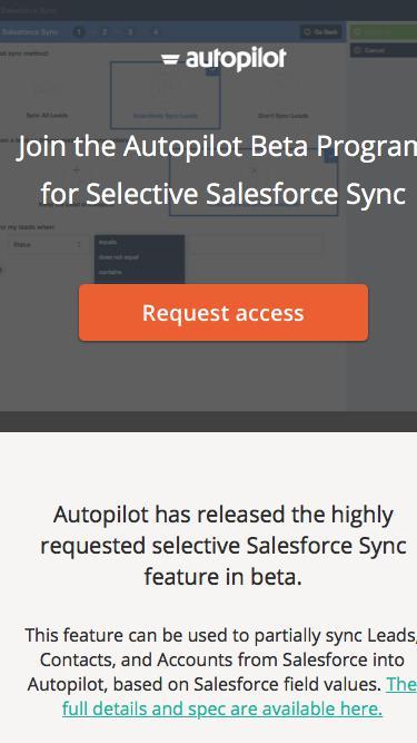 Selective Salesforce Sync Beta | Autopilot