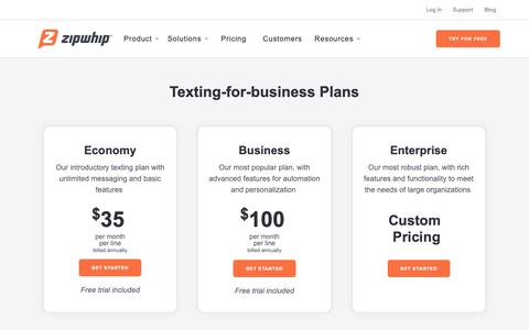 Screenshot of Pricing Page zipwhip.com - (2) New Messages! - captured June 22, 2019
