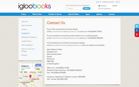Screenshot of Contact Page igloobooks.com - Contact Us - captured Sept. 25, 2014