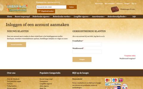 Screenshot of Login Page tabakado.nl - Klant-login - captured Oct. 9, 2014