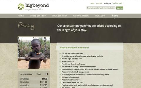 Screenshot of Pricing Page bigbeyond.org - Pricing   Big Beyond - make a difference, boost your career & travel abroad - captured Sept. 30, 2014