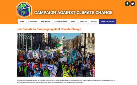 Screenshot of Signup Page campaigncc.org - Join/donate to Campaign against Climate Change | Campaign against Climate Change - captured Sept. 26, 2018