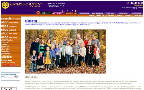 Screenshot of About Page catholicsupply.com - About Us - captured Sept. 19, 2014