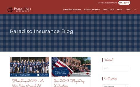 Screenshot of Blog paradisoinsurance.com - Connecticut Insurance Blog | Paradiso Insurance - captured July 17, 2019