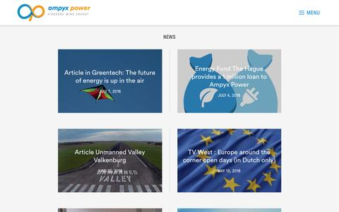 Screenshot of Press Page ampyxpower.com - News – Ampyx Power - captured July 25, 2016