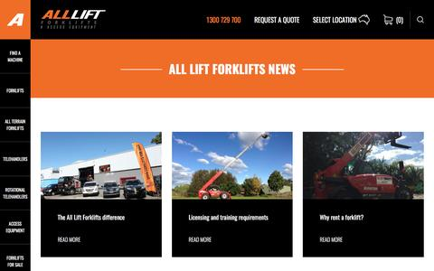 Screenshot of Press Page allliftforklifts.com.au - All Lift Forklifts and Access Equipment Hire News - captured May 29, 2017