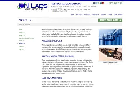Screenshot of ionlabs.com - About Us - Ion Labs - captured Oct. 4, 2015