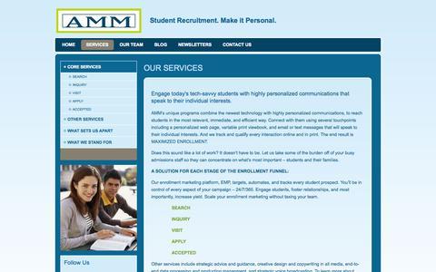 Screenshot of Services Page ammedu.com - Core Services - captured Sept. 30, 2014