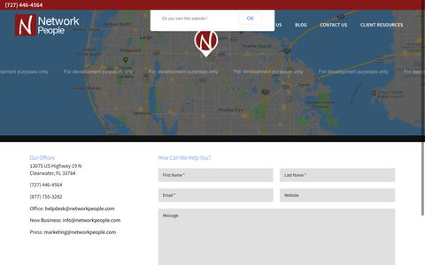 Screenshot of Contact Page networkpeople.com - Contact Us | Network People | Clearwater, Florida - captured Oct. 20, 2018