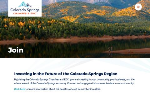 Screenshot of Signup Page coloradospringschamberedc.com - Join Colorado Springs Chamber & Economic Development Corp. - captured May 7, 2017