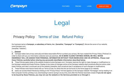 Screenshot of Privacy Page Terms Page campayn.com - Campayn - captured July 15, 2018