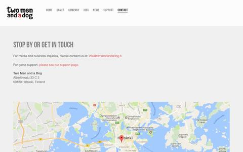 Screenshot of Contact Page twomenandadog.fi - Contact — Two Men and a Dog - captured Dec. 7, 2016