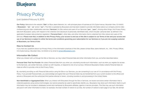 Privacy Policy | BlueJeans - Business Video Communications