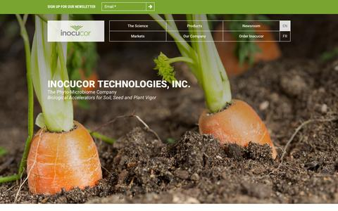 Screenshot of Home Page inocucor.com - Sustainable Biological Products | Inocucor Technologies - captured Jan. 21, 2015