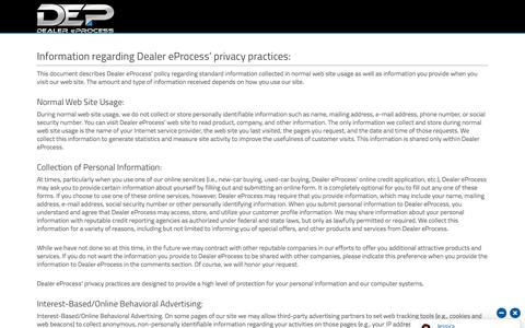 Screenshot of Privacy Page dealereprocess.com - Privacy Policy - Dealer eProcess - captured June 20, 2018