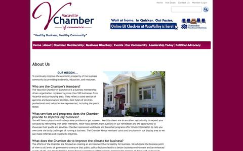 Screenshot of About Page vacavillechamber.com - About Us - Vacaville Chamber of Commerce - captured Oct. 27, 2014
