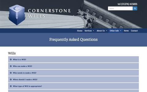 Screenshot of FAQ Page cornerstonewills.co.uk - Frequently Asked Questions - Cornerstone Wills Cornerstone Wills - captured Sept. 29, 2018