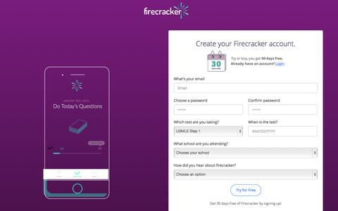Screenshot of Signup Page firecracker.me - Firecracker | Learn Faster, Remember Everything - captured Aug. 3, 2015