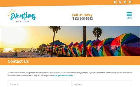 Screenshot of Contact Page eventionsfl.com - Contact Us – Eventions of Florida - captured Aug. 23, 2017