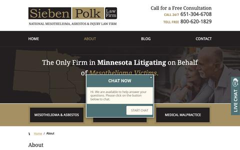 Screenshot of About Page siebenpolklaw.com - About Sieben Polk P.A. | National Mesothelioma Law Firm - captured Oct. 19, 2018
