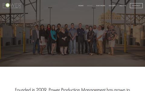 Screenshot of About Page powerproductionmanagement.com - About — Power Production Management - captured Aug. 18, 2017