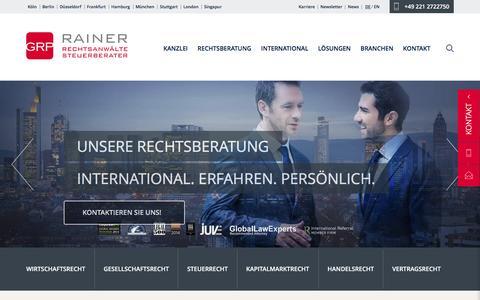 Screenshot of Home Page grprainer.com - Rechtsanwälte Steuerberater - GRP Rainer - captured Jan. 14, 2016