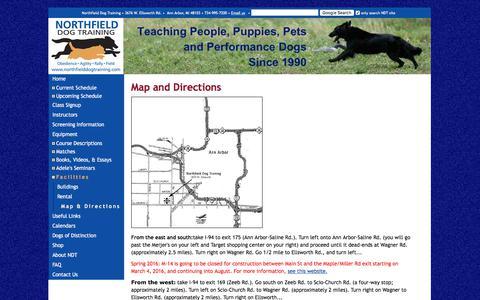 Screenshot of Maps & Directions Page northfielddogtraining.com - Northfied Dog Training - captured June 14, 2017