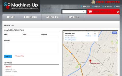 Screenshot of Contact Page machinesup.com - Contact Us    Machine Up - captured Sept. 30, 2014