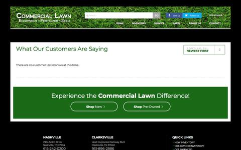 Screenshot of Testimonials Page commerciallawnequipment.com - Testimonials | Commercial Lawn | Nashville Tennessee - captured July 20, 2018