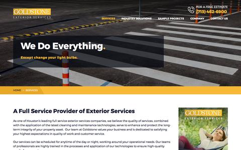 Screenshot of Services Page goldstoneexterior.com - Houston Exterior Cleaning and Enhancement Services | Goldstone Exterior Services - captured Aug. 28, 2017