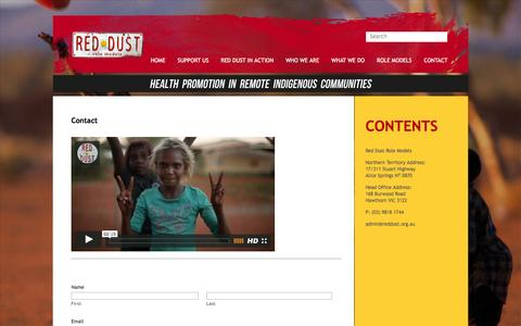 Screenshot of Contact Page reddust.org.au - Contact | Red Dust Role Models - captured Feb. 14, 2016