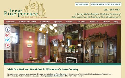 Screenshot of Contact Page Maps & Directions Page innatpineterrace.com - Bed and Breakfast in Wisconsin for Getaways near Chicago - captured April 13, 2017