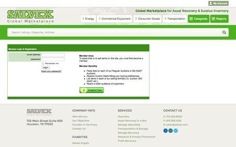 Screenshot of Login Page salvex.com - My Account | Salvex - captured Oct. 29, 2014