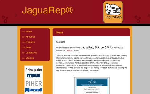 Screenshot of Press Page jaguarep.com - News - captured Oct. 6, 2014