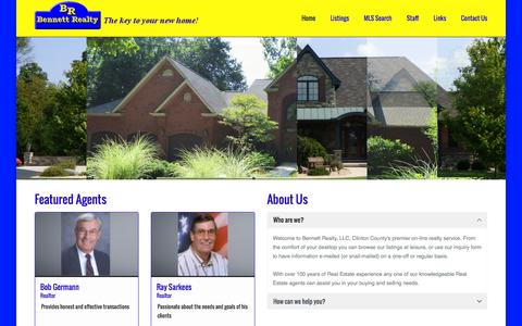Screenshot of Home Page bennettrealty.com - Bennett Realty   The Key to Your New Home - captured Feb. 6, 2016
