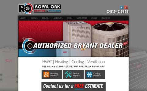 Screenshot of Home Page royaloakheating.com - Royal Oak Heating & Cooling | - captured Oct. 6, 2014