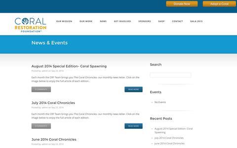 Screenshot of Press Page coralrestoration.org - News & Events   Coral Restoration Foundation - captured Oct. 3, 2014