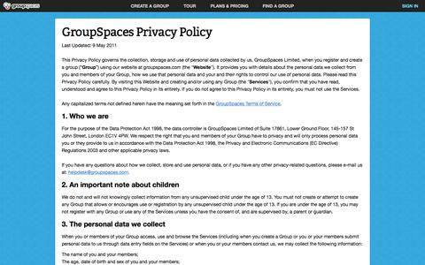 Screenshot of Privacy Page groupspaces.com - Privacy Policy : GroupSpaces - captured Nov. 17, 2015