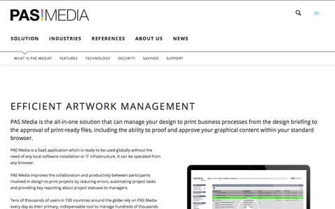 Screenshot of Support Page pas-media.ch - PAS Media: The efficient Artwork Management System - PAS Media English - captured July 14, 2018