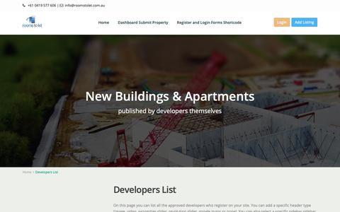Screenshot of Developers Page roomstolet.com.au - Developers List – Rooms to Let - captured Nov. 9, 2018