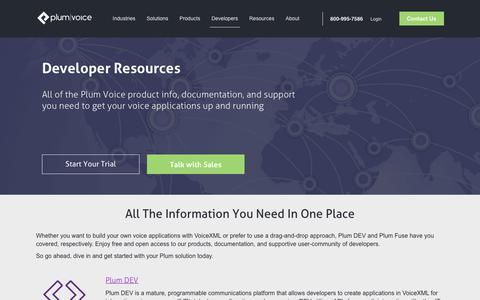 Screenshot of Developers Page plumvoice.com - Developer Resources for Voice Automation & IVR | Plum Voice - captured July 19, 2018